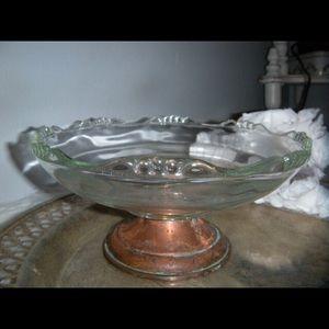 Vintage crystal Copper Pedestal Bowl ~ Dish